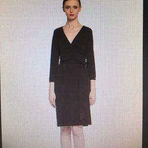 DVF Diane von Furstenberg Brown Wrap Midi Dress
